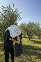 Italy, Tuscany, couple in olive grove kissing under a cloth - PSTF00343
