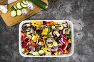 Mix of raw vegetables in casserole - GIOF05875