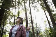 Pensive senior couple hiking looking up at trees in woods - HEROF32378