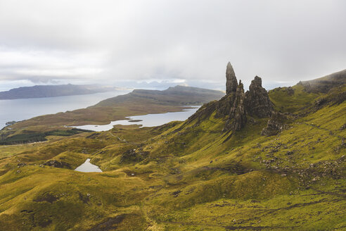 United Kingdom, Scotland, the Old man of Storr on a foggy moody day on the Isle of Skye - WPEF01420