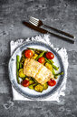 Coalfish fillet on zucchini, green asparagus and tomato, low carb - SARF04200