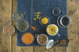 Preserving jars with various sorts of lentils - ASF06346