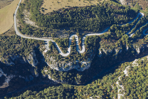 Spain, Navarra, Irati Forest, aerial view of winding road - RSGF00147