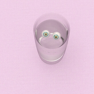 3D rendering, Staring eyeballs in a glass of water - UWF01517