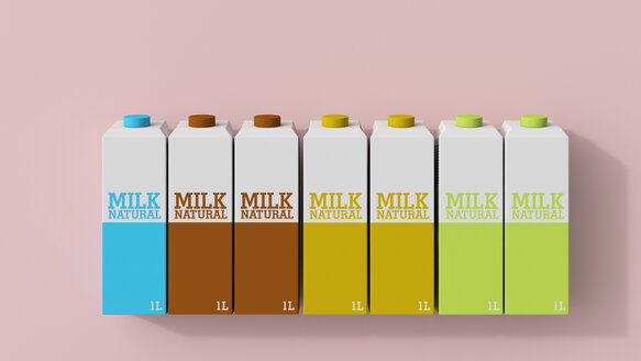3D rendering, Row of milk cartons in different colors - UWF01538