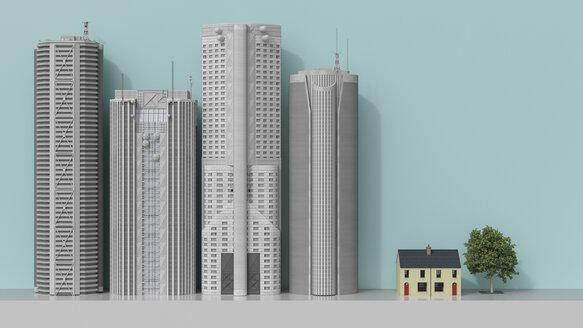 3D rendering, Residential house facing skyscrapers - UWF01559