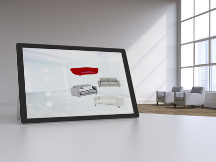 3D rendering, Digital tablet in modern loft with furnitures on display, online shopping for couches - UWF01574
