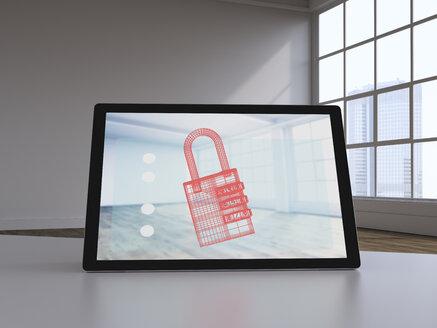 3D rendering, Virtual lock on display of a digital tablet - UWF01583