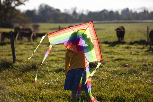 Rear view of girl in field with kite - GAF00132
