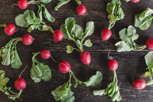 Red radishes with leaves on dark wood - STBF00285