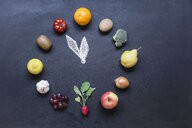 Fruits and vegetables buliding clock on dark ground with - STBF00288