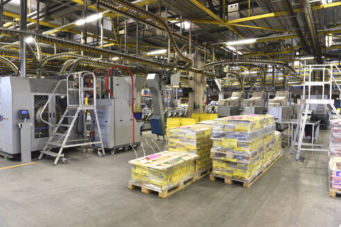 Printing shop, newspapers on pallets - SCHF00473