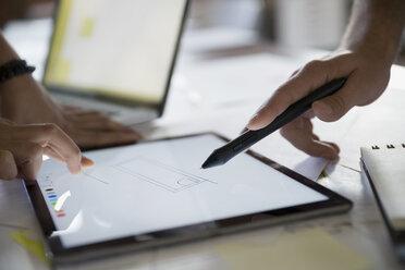 Close up designers drawing on digital tablet - HEROF33793