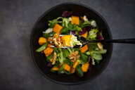 Bowl of mixed green salad with hokkaido pumpkin and walnuts - LVF07954