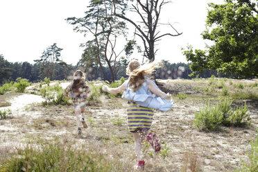 Rear view of two girls running through dune landscape - AMEF00057