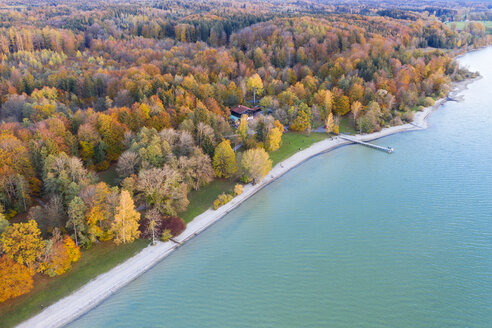 Germany, Bavaria, lakeshore of Lake Starnberg, Fuenfseenland, local recreation area Ambach, aerial view - SIEF08525