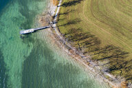 Germany, Bavaria, Kaltenbrunn, Tegernsee, shadows of trees at the lakeshore and jetty, aerial view - SIEF08531