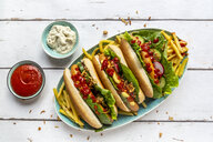 Hot dogs with french fries, ketchup and mayonnaise - SARF04209