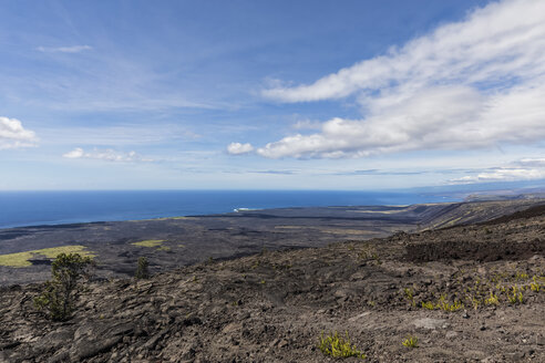 USA, Hawaii, Volcanoes National Park, view over lava fields along the Chain of Craters Road - FOF10523