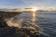 USA, Hawaii, Big Island, Volcanoes National Park, Pacific Ocean, lava coast at sunrise - FOF10538