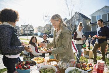 Neighbors enjoying potluck in sunny front yard - HEROF34542