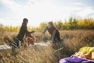Mother and daughter preparing picnic in sunny field - HEROF34566