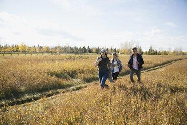Friends running in sunny autumn field - HEROF35293