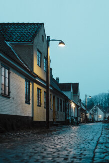 Denmark, Dragor, residential houses in the old town at twilight - AFVF02720