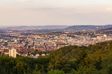 Germany, Baden-Wuerttemberg, Stuttgart, Cityscape with TV Tower in the evening, view from Birkenkopf - WDF05228