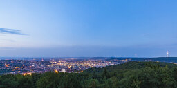 Germany, Baden-Wuerttemberg, Stuttgart, Cityscape with TV Tower at blue hour, View from Birkenkopf - WDF05231