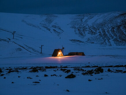 Iceland, near Krafla power plant region at night in winter - TAMF01268