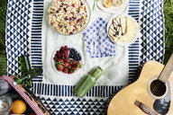 Top view of healthy picnic snacks on a blanket - IGGF00980