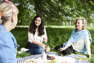 Women talking at a picnic in park - IGGF00986