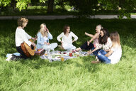Group of women with guitar having fun at a picnic in park - IGGF01001