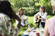 Group of women with guitar having fun at a picnic in park - IGGF01004