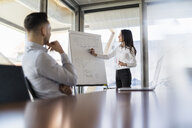 Businesswoman and businessman working with flip chart in office - DIGF06623