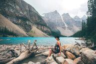 Woman enjoying view, Moraine Lake, Banff, Canada - ISF21097