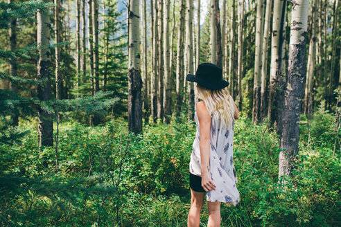 Woman enjoying forest, Banff, Canada - ISF21109