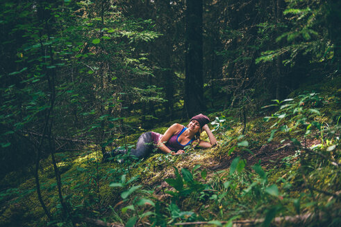 Hiker enjoying forest, Johnston Canyon, Banff, Canada - ISF21112