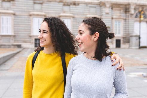 Girlfriends exploring city, Madrid, Spain - CUF50305