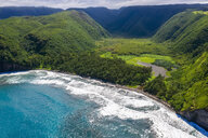 USA, Hawaii, Big Island, Pacific Ocean, Pololu Valley Lookout, Pololu Valley and Black Beach, Aerial View - FOF10611