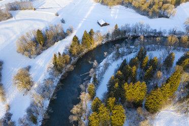 Germany, Bavaria, Loisach river near Eurasburg in winter, aerial view - SIEF08550