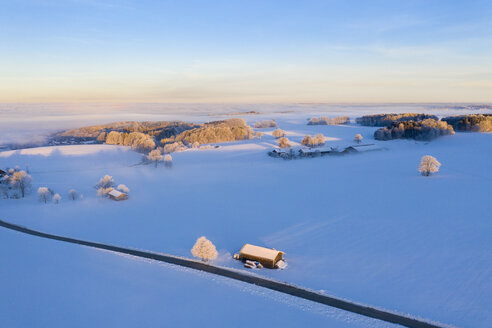 Germany, Bavaria, near Münsing, winter landscape at sunrise, aerial view - SIEF08562