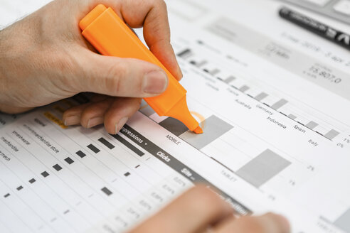 Close-up of businessman using highlighter on a report at desk in office - MGIF00375