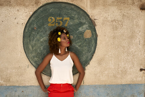 Beautiful Afro woman with flowers on her hair. Baixa, Moçambique, Maputo - VEGF00007
