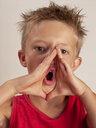 Portrait of boy screaming - WWF05046