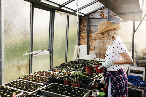 Young woman gardening in a greenhouse - HMEF00316