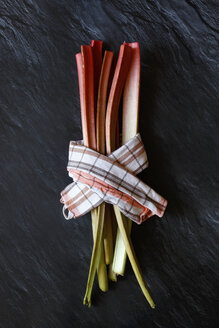 Rhubarb stalks and kitchen towel - JTF01216