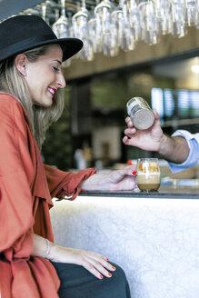 Sevilla, Spain, woman, coffee shop, fall - ERRF01084