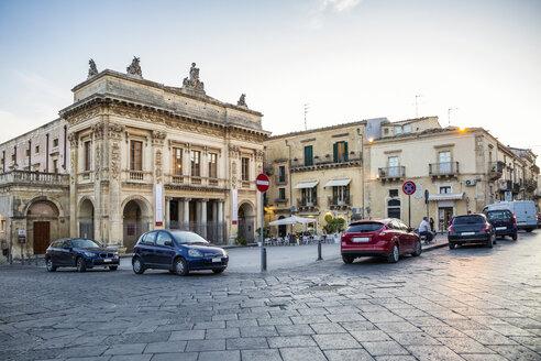 Sicily, Noto, Teatro Comunale Tina Di Lorenzo in the evening - MAMF00527